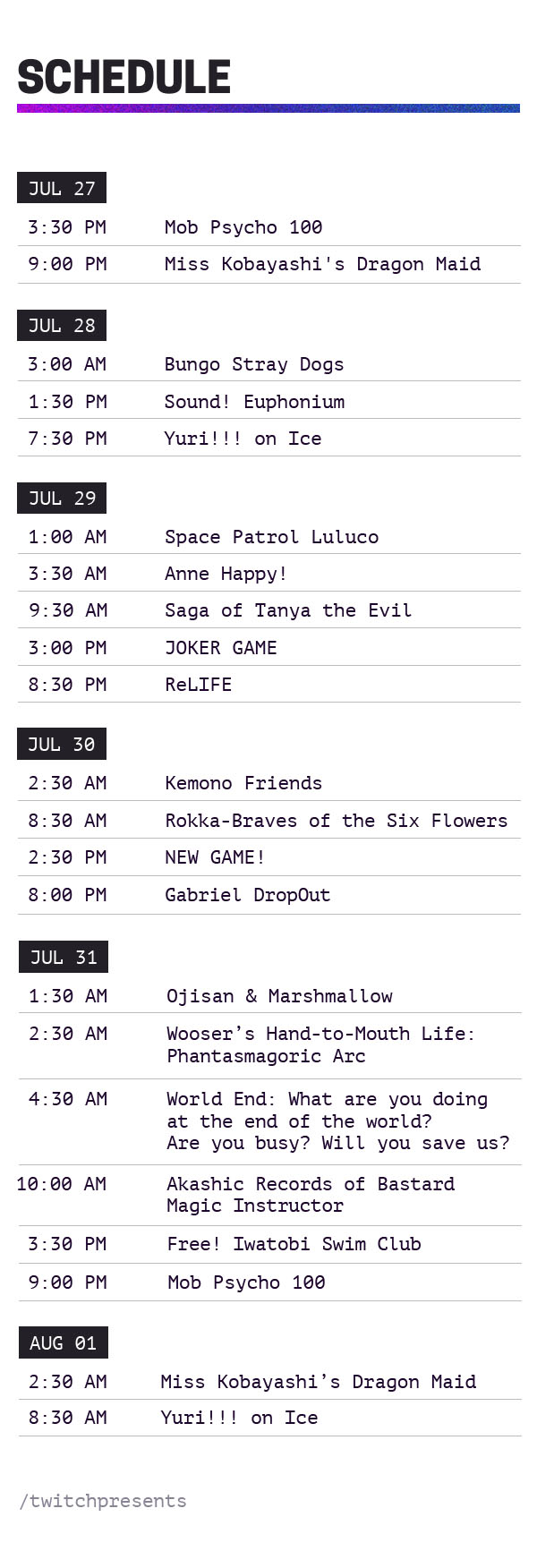 Twitch Crunchyroll Lineup