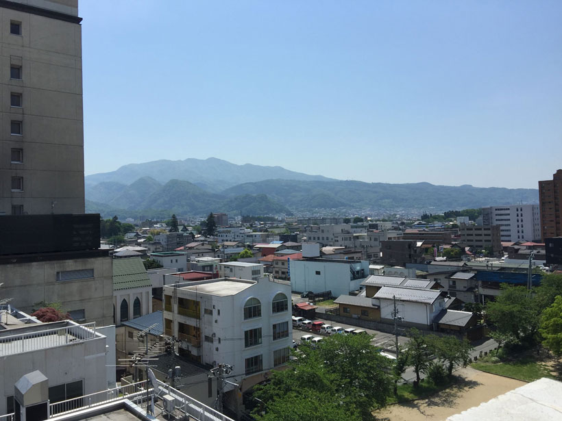 Mountain view from Yamagata hotel