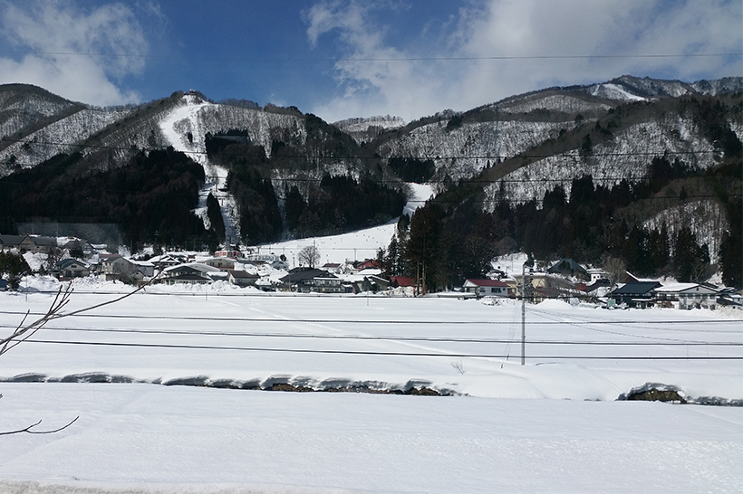 Arriving in Hakuba on the train for our ski holiday