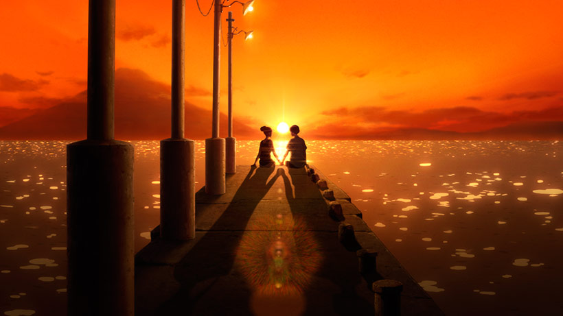 January 2021, Ride Your Wave, Hinako and Minato on a jetty at the sunset