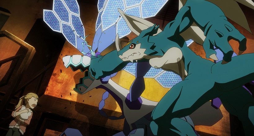 Digimon Adventure Last Evolution Kizuna, ExVeemon protecting people