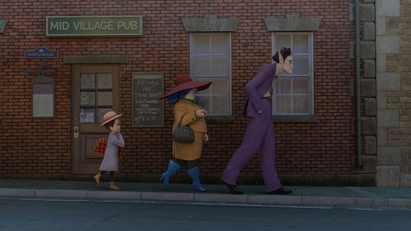 Earwig and the Witch review, Erica walking behind Bella Yaga and Mandrake