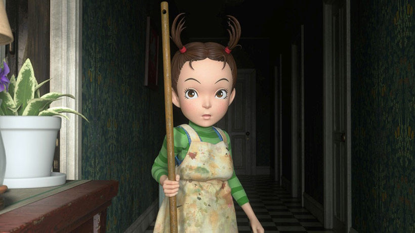 Earwig and the Witch review, Erica holding her broom