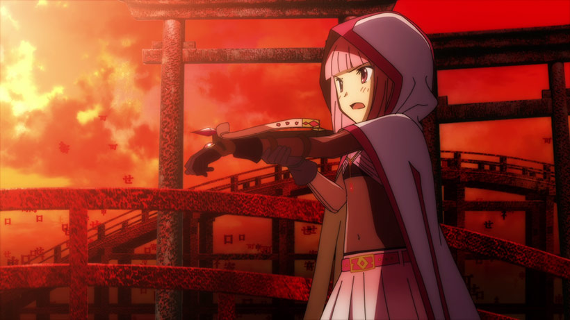 Magia Record: Puella Magi Madoka Magica Side Story Part 1 review, Tamaki battling at the shrine